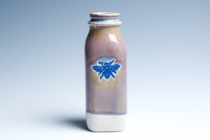 Small Gold and Lavender Milk Bottle with Bee