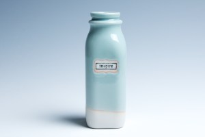 """Small Icy Blue """"Inspire"""" Milk Bottle 