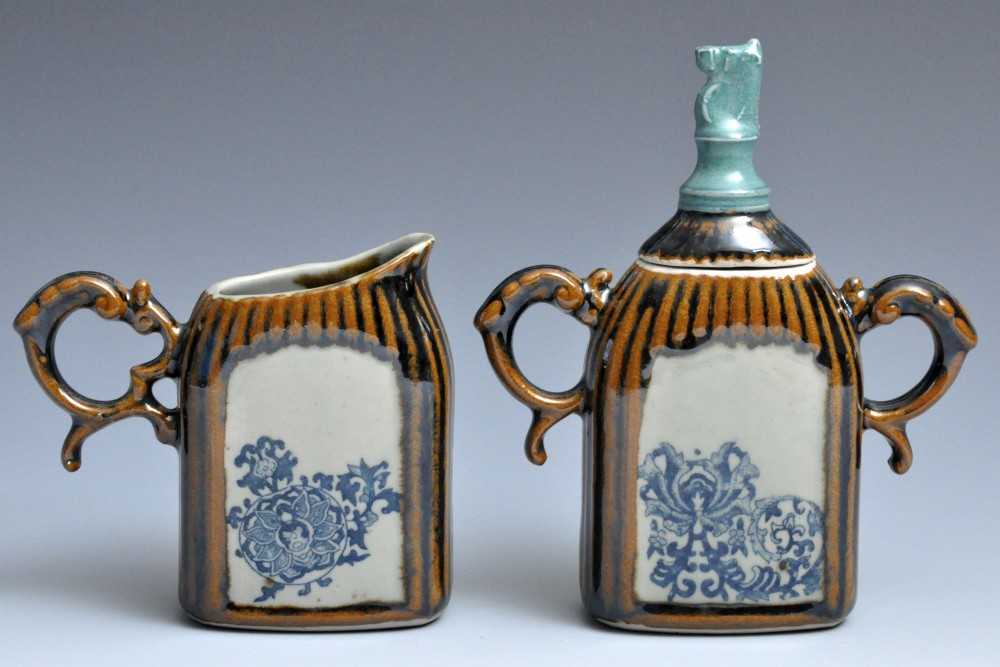 Brown and Teal Cream and Sugar Set | Tricia Ree McGuigan