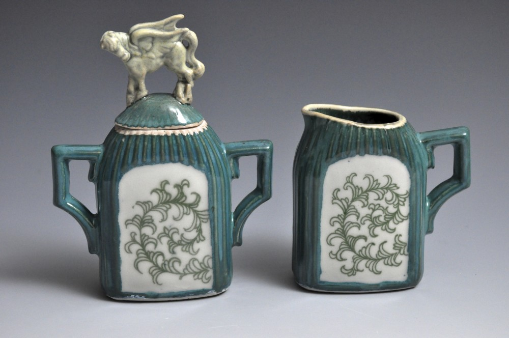Teal and Green Pegasus Cream and Sugar Set | Tricia Ree McGuigan