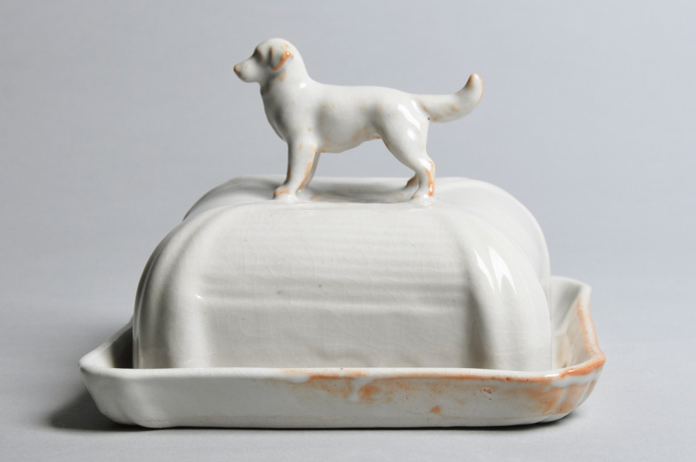Ivory Hound Butter Dish | Tricia Ree McGuigan