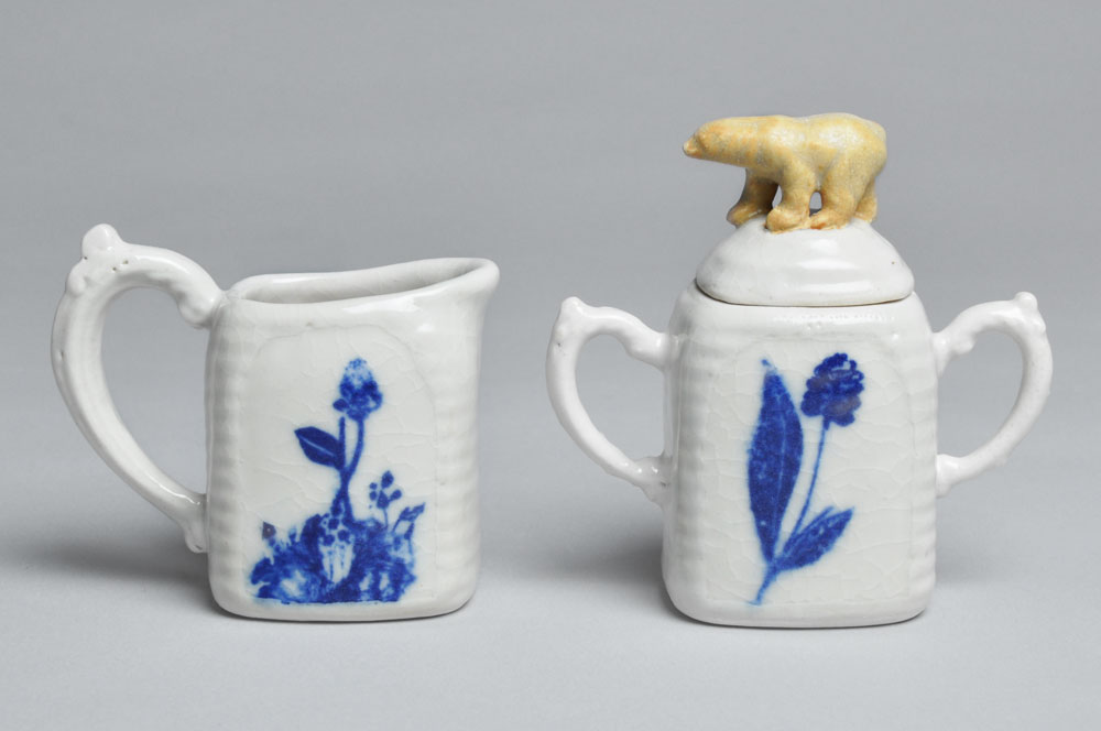 White and Blue Bear Cream and Sugar Set | Tricia Ree McGuigan