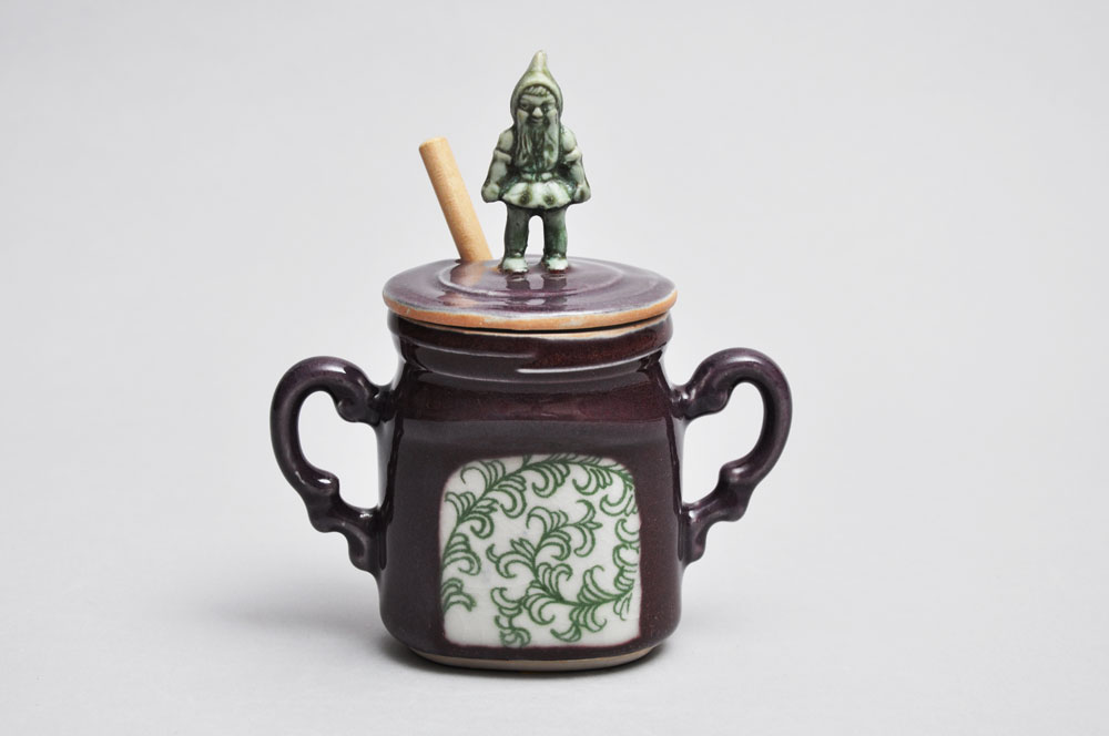 Purple and Green Gnome Honey Jar | Tricia Ree McGuigan