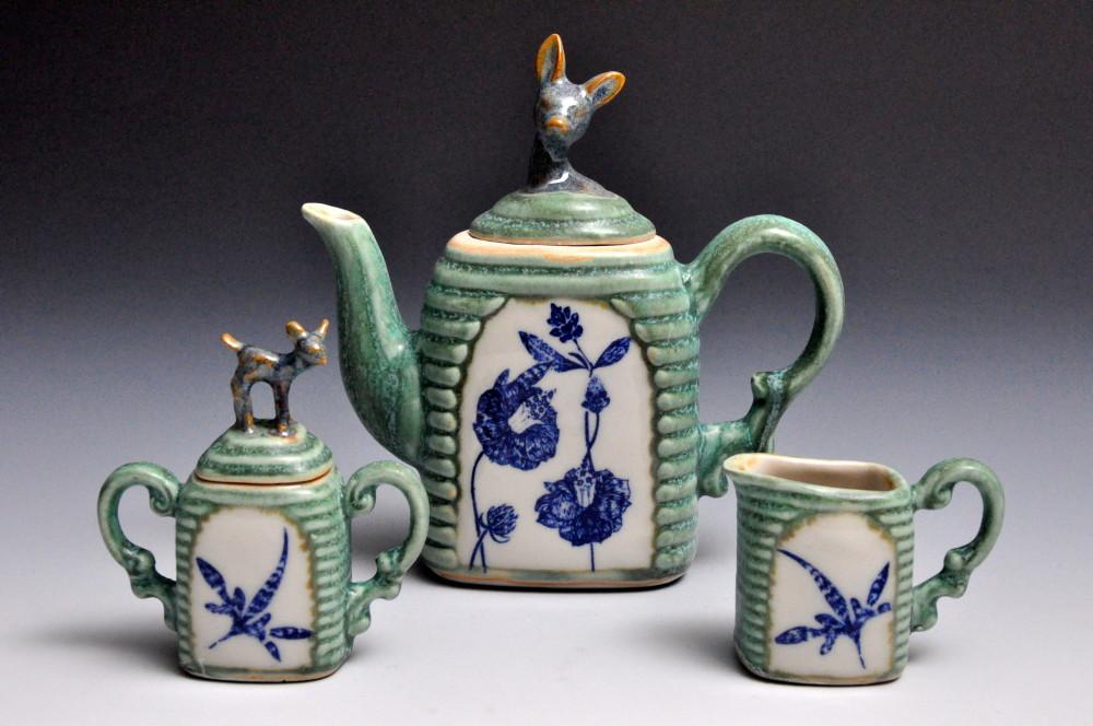 Green and Blue Deer Tea Set | Tricia Ree McGuigan