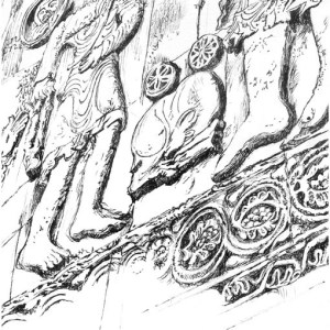 Plein air drawing of ancient carving of David and Goliath at Aghtamar