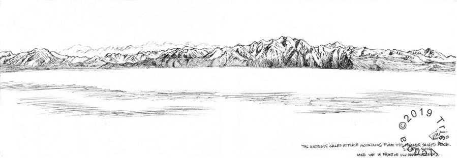 Plein air drawing of Lake Van