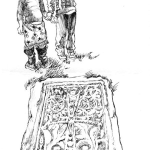 Plein air drawing of old Armenian tombstone with little girls