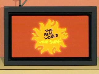 Futurama cartoon Real World spoof of soul on sun burns to death