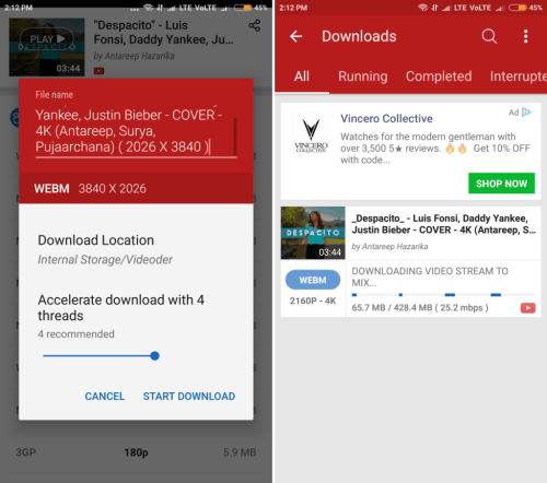 best android youtube video downloader videoder