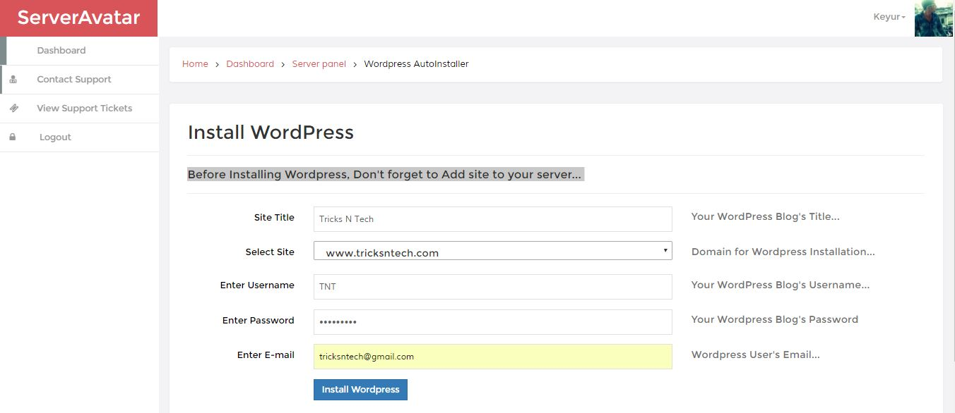 Server Avatar Install_Wordpress