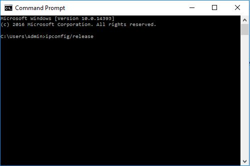 Release IP Command Prompt