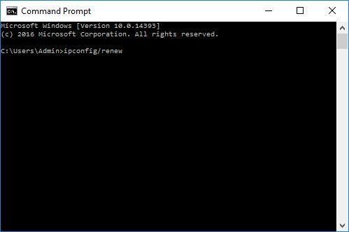 Renew IP Command Prompt