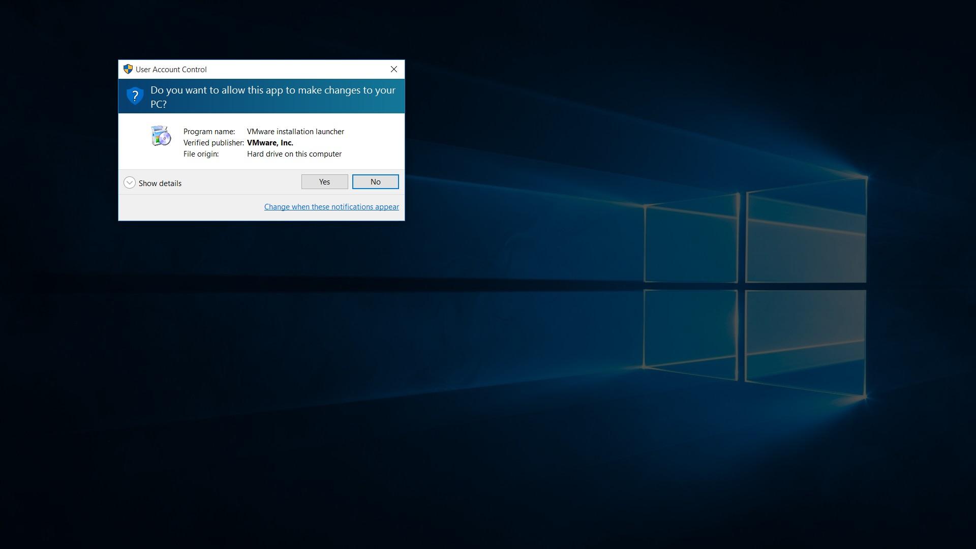 vmware workstation 12 pro installer windows 10 UAC