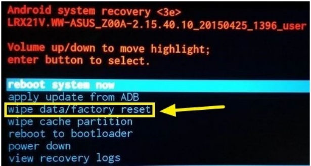 Erase Data using Recovery Mode