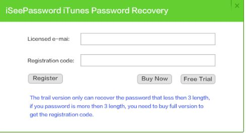 iSeePassword iTunes Password Recovery Activation