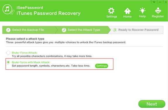 iSeePassword iTunes Password Recovery Attack Selection