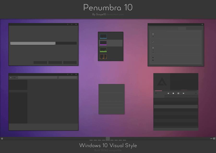 penumbra 10 windows 10 dark theme