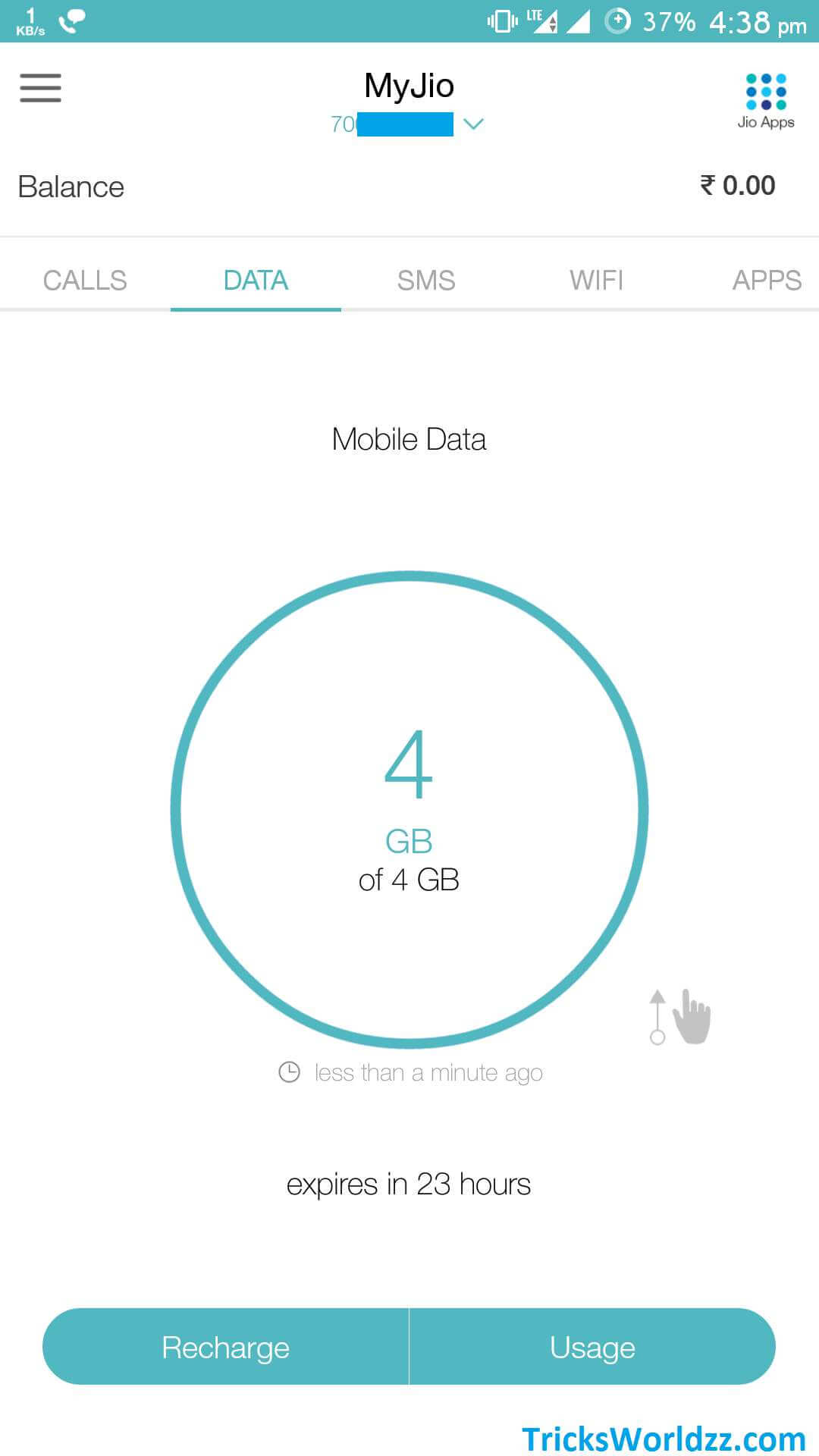 Track Reliance Jio 1GB Data Limit