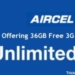 Get 1GB 3G Free Internet Data Aircel (6 AM to 9 AM)