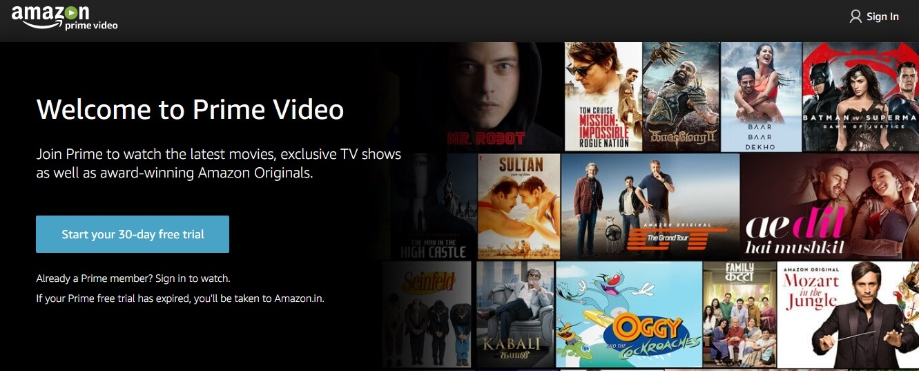 Amazon Prime Video Premium Subscription: Start 30 days Free Trial