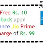 Get Free Rs 10 Cashback upon Reliance Jio Prime Recharge of Rs. 99