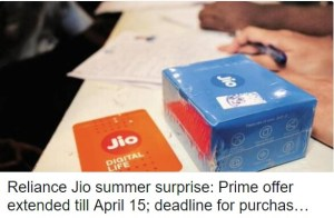 Summer Surprise Jio extends Prime subscription date to April 15th.