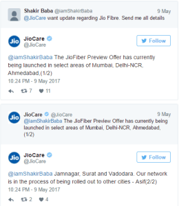Jiocare Twitter reply on Jio Broadband launch