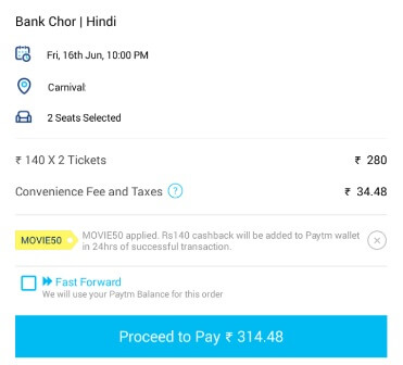 Paytm Movie Tickets Cashback offers