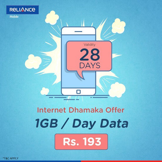 Reliance 4G Get 1GB Free Internet Data Daily at Rs. 193