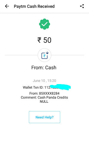 PayTM cash Payout.