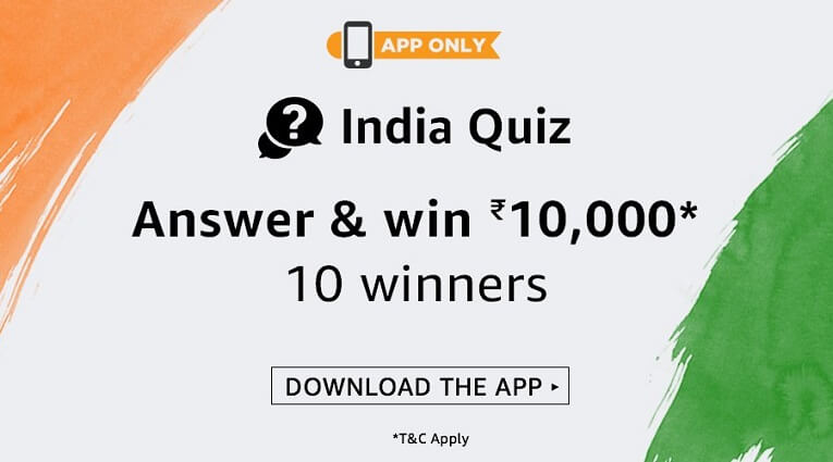 Amazon India Quiz Answer & Win Rs. 10,000