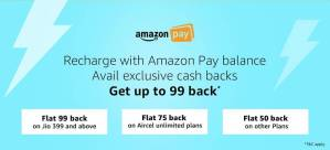 Amazon Prepaid Mobile Recharge Offers Get 50% Cashback.
