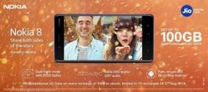 Get Additional 100GB Free Internet Data Jio Users Nokia 8 Nokia 5