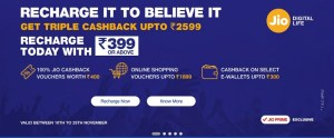 Triple Cashback Offer Get Up to Rs. 2,599 on Recharges of Rs. 399 and Above Jio Offers