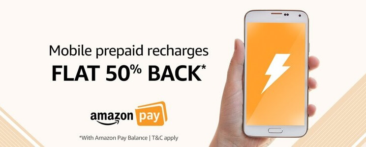 Get Flat 50% OFF Amazon Mobile Prepaid Recharge.