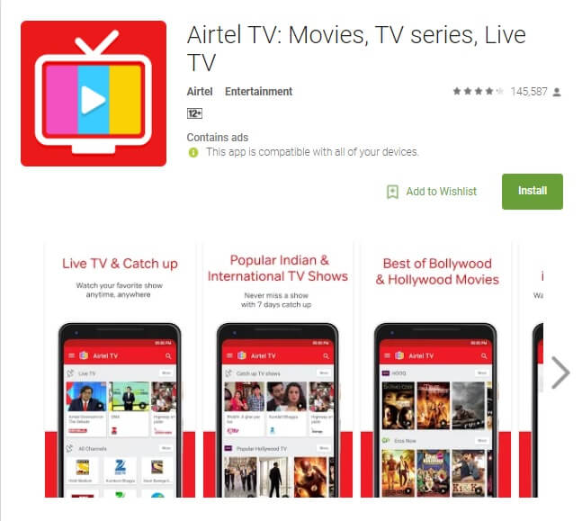 Airtel TV Mobile App now offers more than 300 channels.