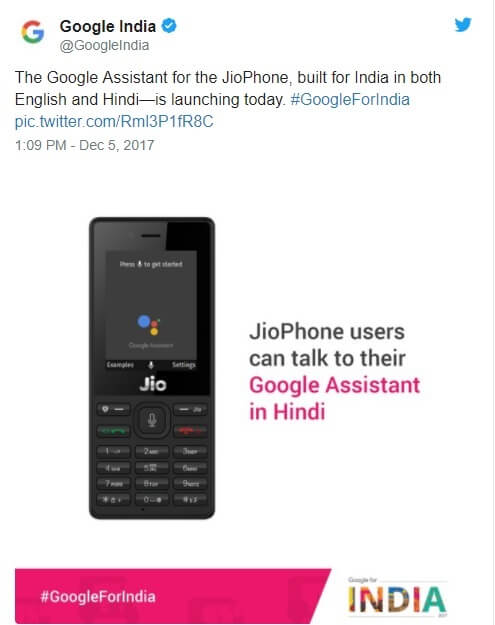 JioPhone Gets Google Assistant Supports English and Hindi