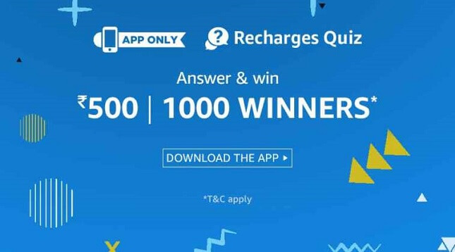 Amazon Recharges Quiz 2018 Answers Added