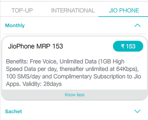 JioPhone Rs 153 Tariff Plan Now Offers 1GB Free Internet Data Per Day for 28 Days