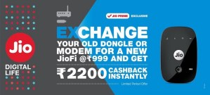 Latest JioFi Device Exchange Offer Get JioFi at Rs 999