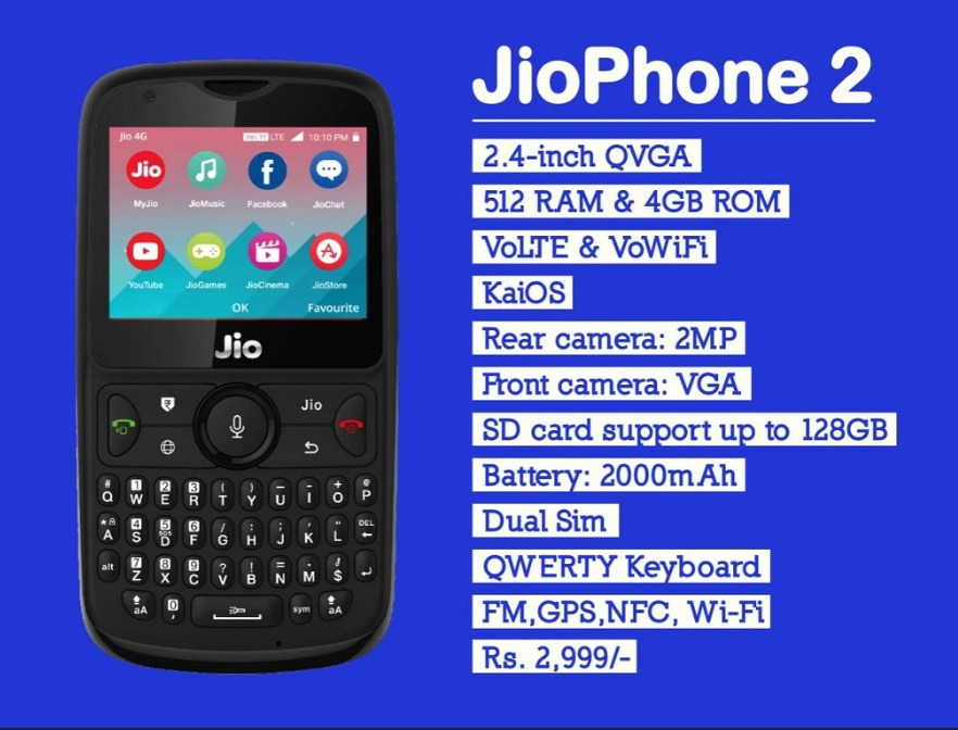 Upcoming Reliance JioPhone 2 on 15 August at Rs 2,999