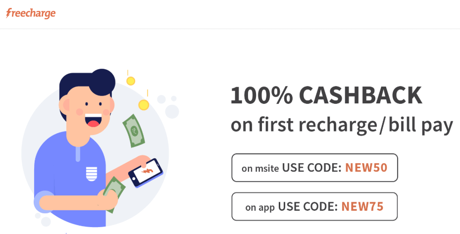 Freecharge free 100% Cashback. Free Mobile Recharge Vendors 2019