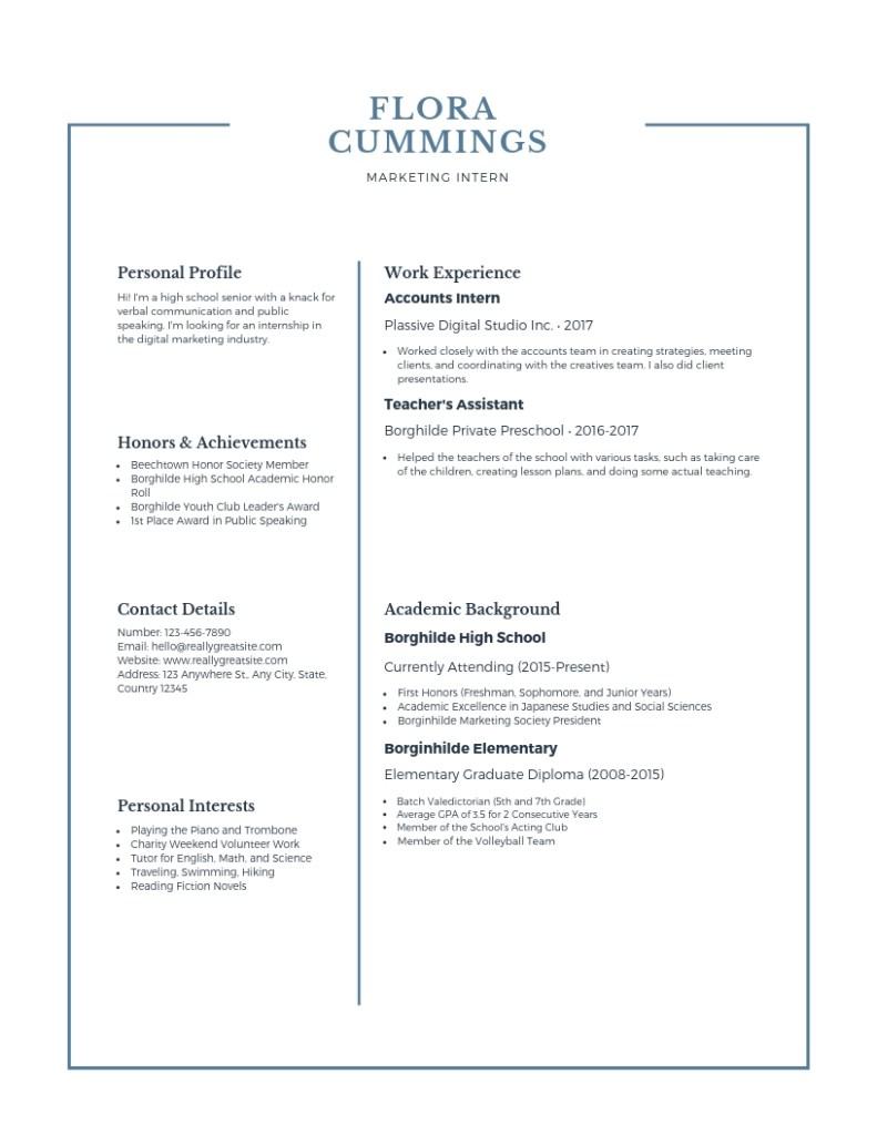 Blue Simple High School Resume