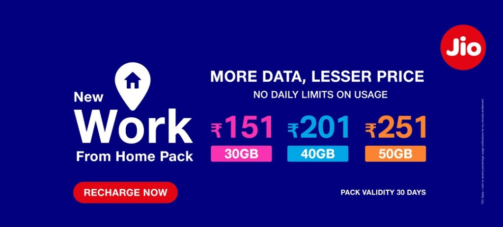Jio Work From Home Pack Free Internet Data