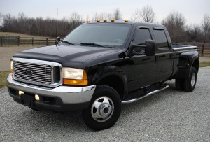 black truck with tinted side windows