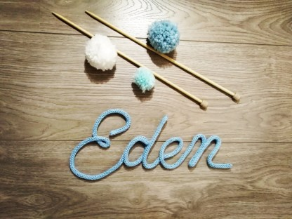 Prénom Eden au tricotin