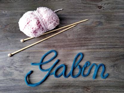 Prénom Gabin au tricotin