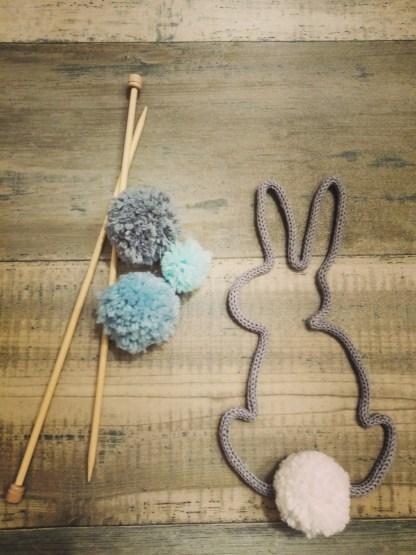 Lapin au tricotin décoration