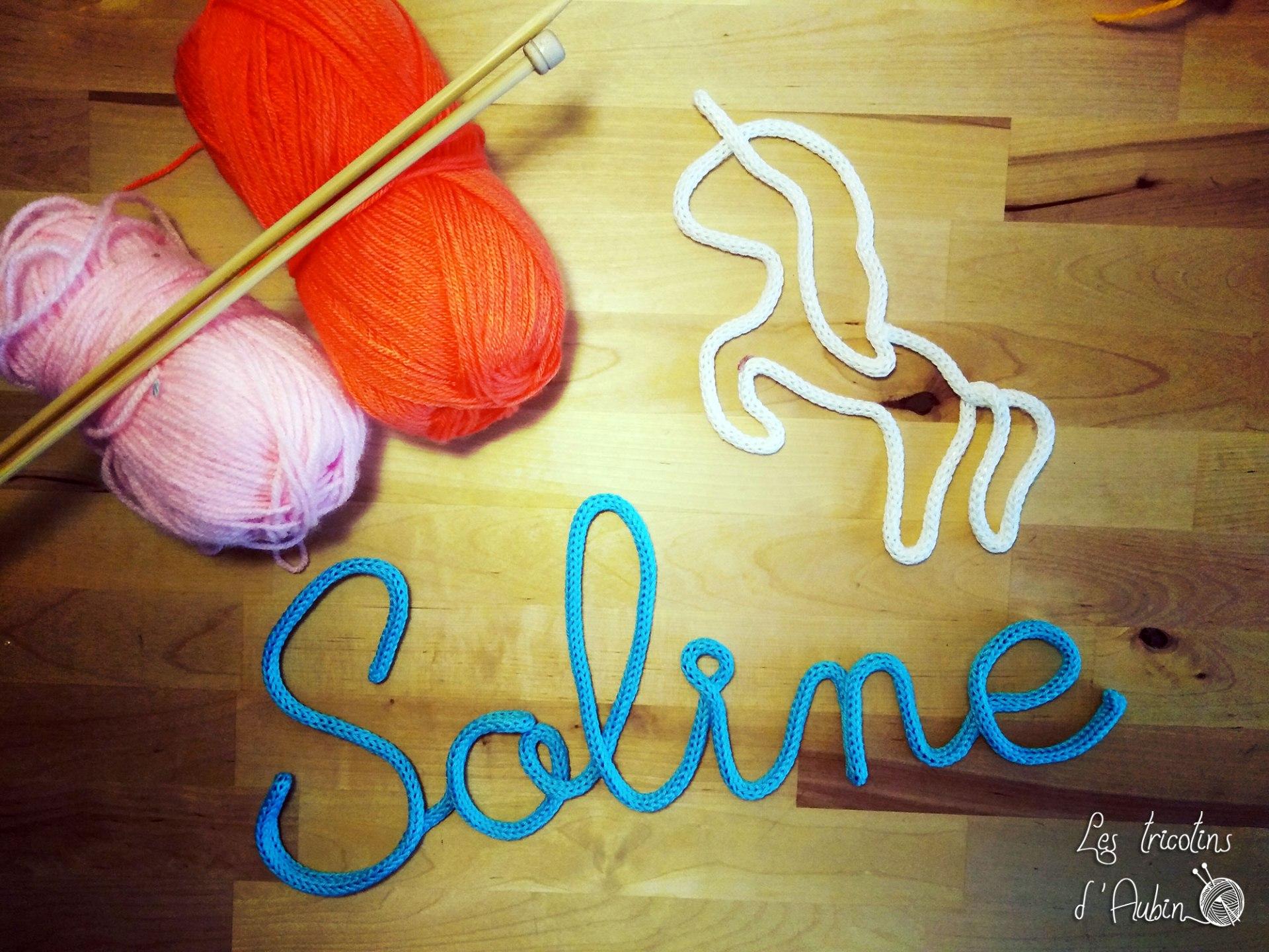 Soline et licorne en tricotin