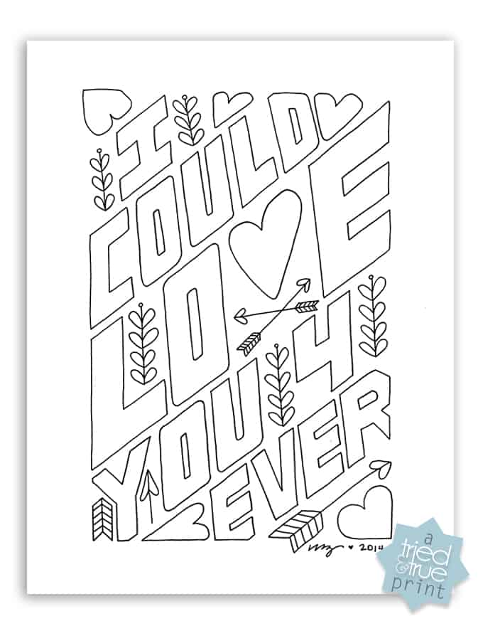 """""""love you forever"""" free coloring page  tried & true"""